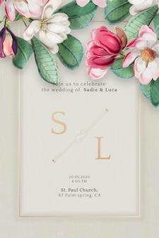 꽃 결혼식 초대 카드 벡터