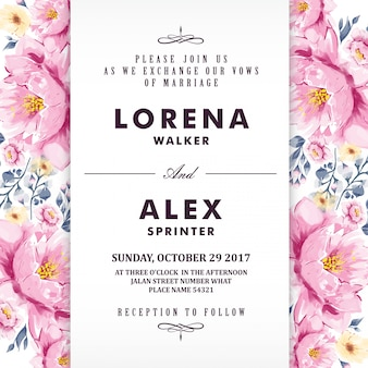 Floral wedding invitation card watercolor flower
