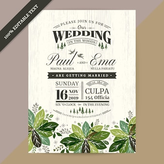 Floral wedding invitation card with editable text