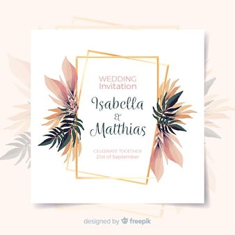 Floral wedding invitation card with golden frame