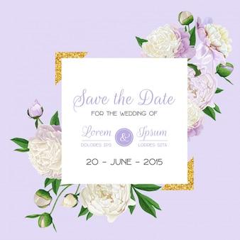 牡丹の花と花の結婚式の招待カード