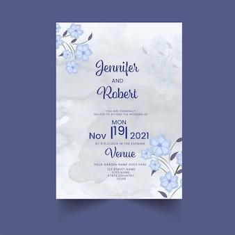 회색과 파란색의 수채화 효과와 꽃 결혼식 초대 카드.