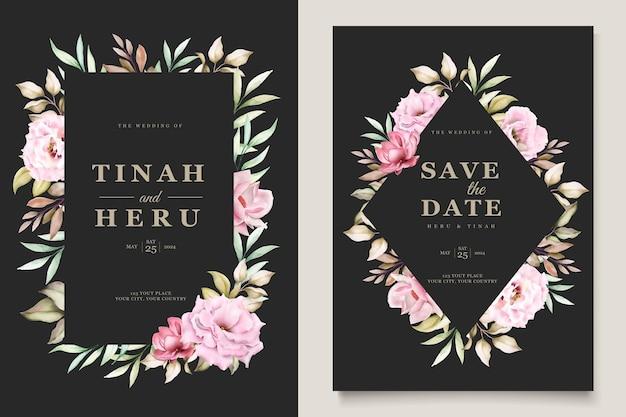꽃 결혼식 초대 카드