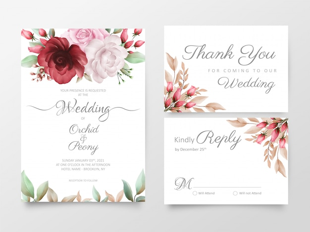 Floral wedding invitation cards template set with watercolor roses and peony flowers