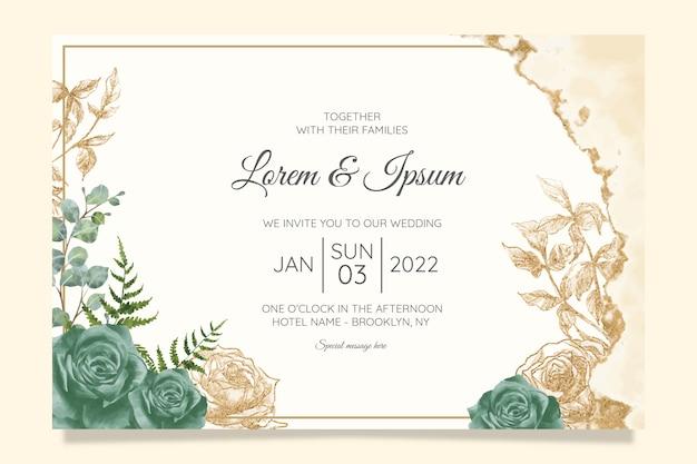 꽃 결혼식 초대 카드 템플릿 세트