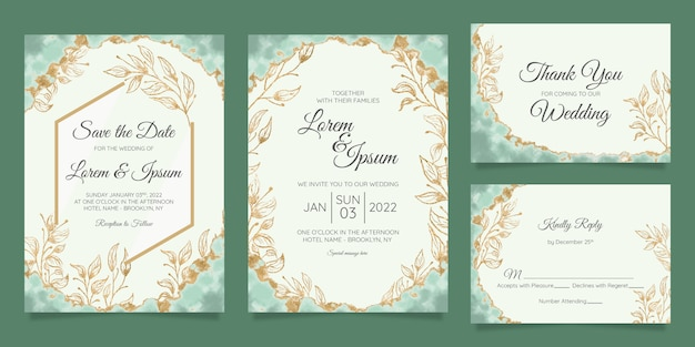Floral wedding invitation cards template with watercolor gold foil