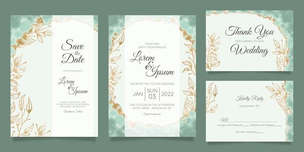수채화 금박 꽃 결혼식 초대 카드 템플릿