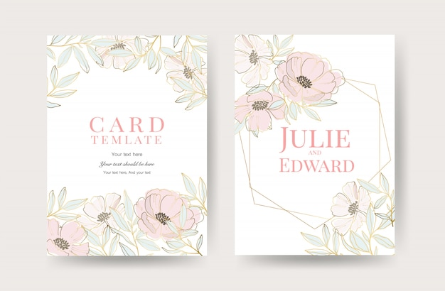Floral wedding invitation cards template
