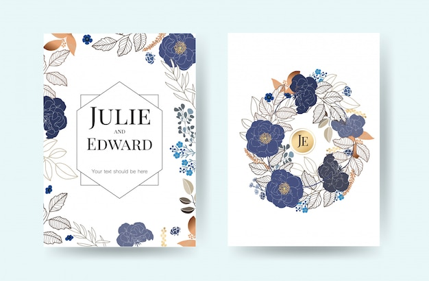 Floral wedding invitation cards vector