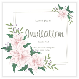 Floral wedding invitation elegant invite card design. flowers and leaves frame
