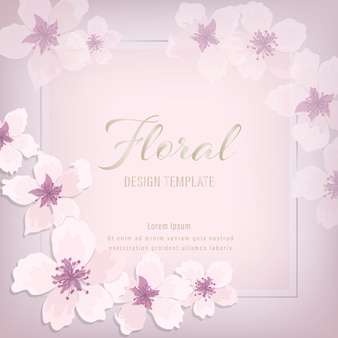 Floral wedding invitation elegant invite card design. pink purple sakura on rectangle floral garland