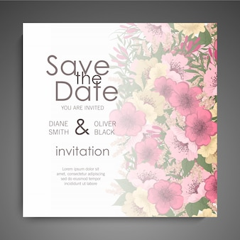 Floral wedding invitation elegant invite card  design