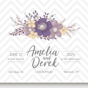 Floral wedding invitation elegant invite card vector