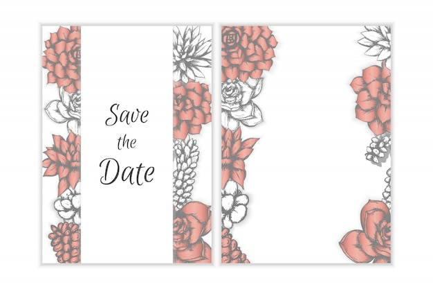 Floral wedding invitation, hand drawn succulents bohemian style design.