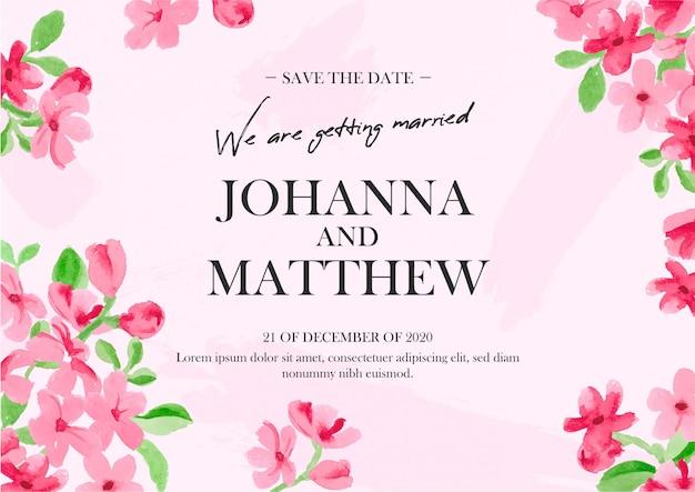 Цветочное свадебное приглашение акварелью