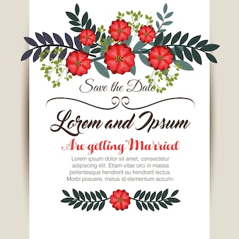 Floral wedding invitation isolated icon design