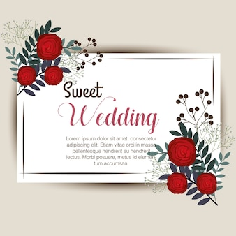 Floral wedding invitation isolated icon design