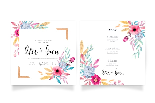Floral wedding invitation & menu template