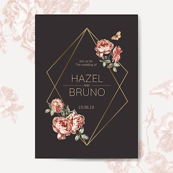 Floral wedding invitation mockup vector
