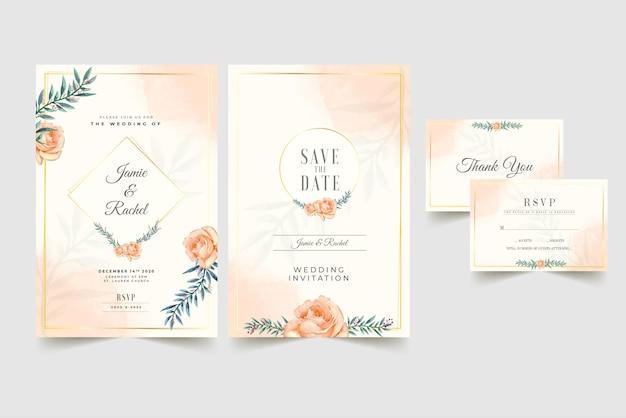Floral wedding invitation in peach color