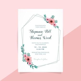 Floral wedding invitation polygon frame