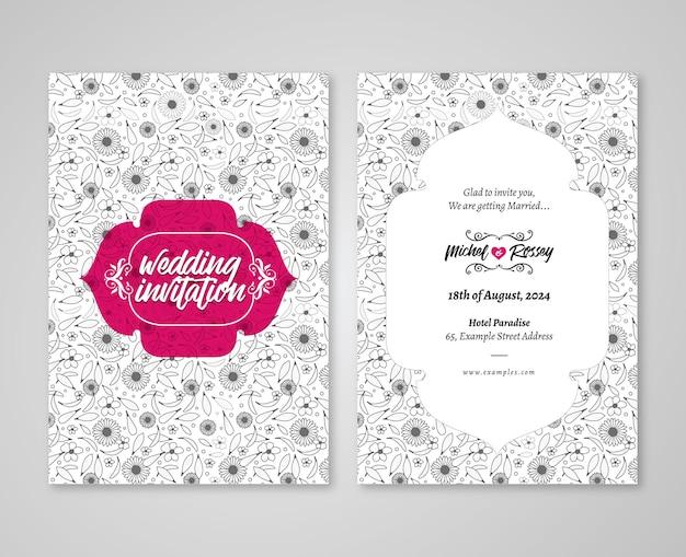 Floral wedding invitation post card