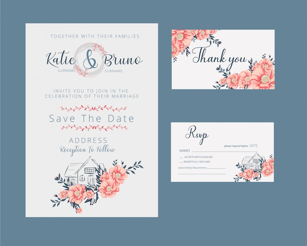 Floral wedding invitation and rsvp card