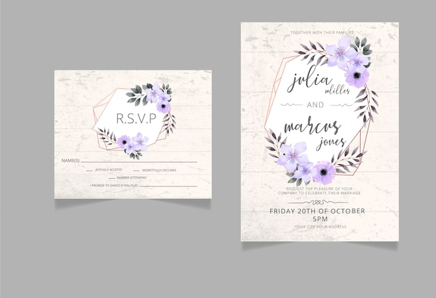 Floral wedding invitation,rsvp  card