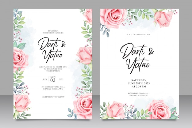 Floral wedding invitation set template-watercolor