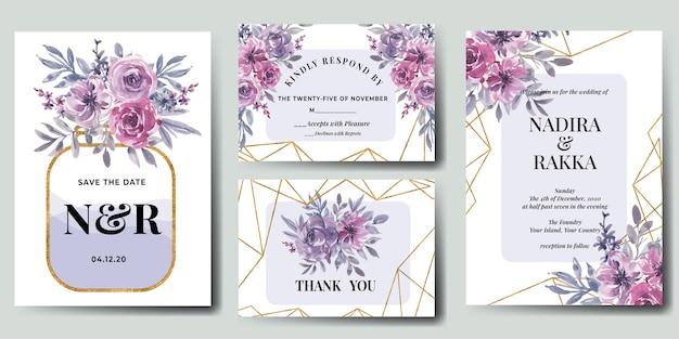 花の結婚式の招待状セット水彩ピンクパープルフラワーゴールド