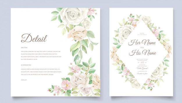 花の結婚式の招待状セット