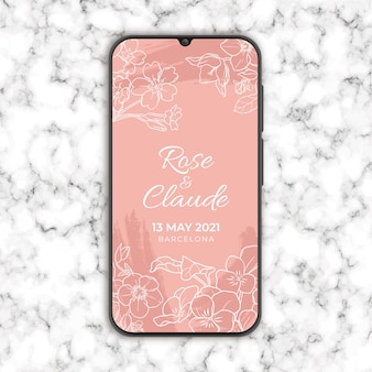 Floral wedding invitation in smarthphone