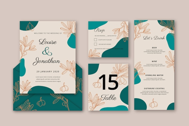 Floral wedding invitation template abstract