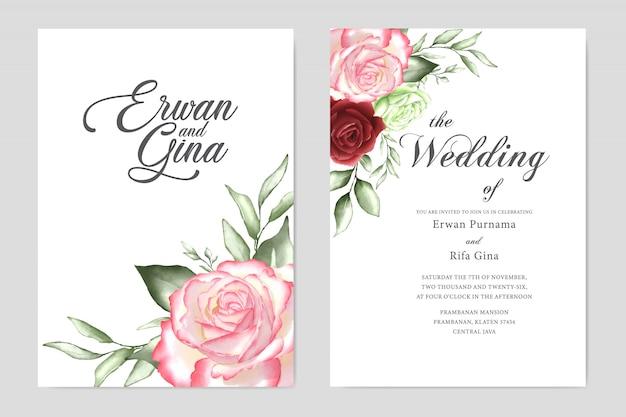 Floral wedding invitation template card design