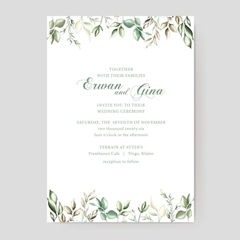 Floral wedding invitation template card design