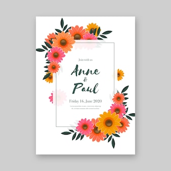 Floral wedding invitation template concept