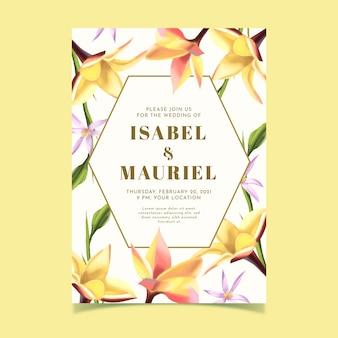 Floral wedding invitation template concept
