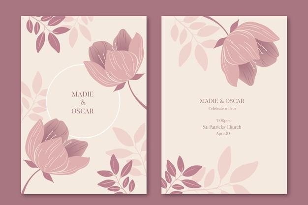 花の結婚式の招待状のテンプレートコンセプト