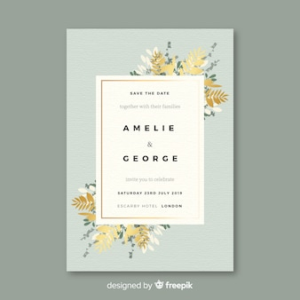 Floral wedding invitation template in flat design