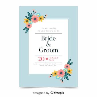 Floral wedding invitation template on flat design