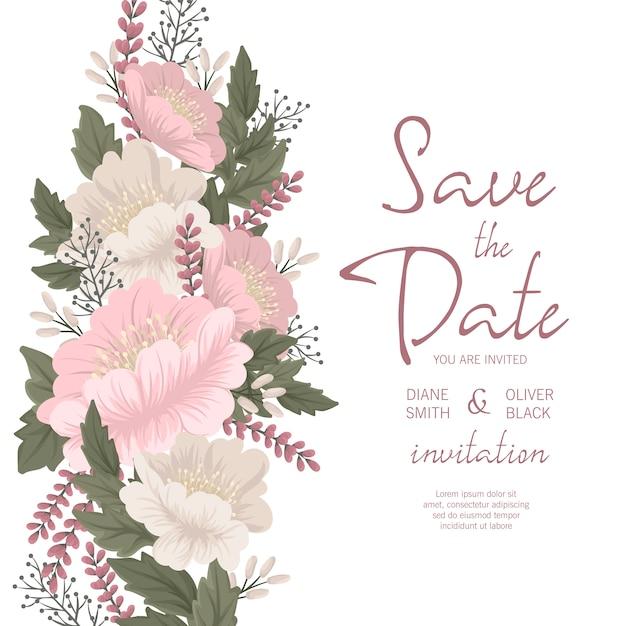 花の結婚式の招待状のテンプレート-ピンクの花カード