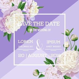꽃 결혼식 초대장 템플릿입니다. 흰 모란 꽃이 만발한 날짜 카드를 저장하십시오. 파티 장식을 위한 빈티지 봄 식물 디자인. 벡터 일러스트 레이 션