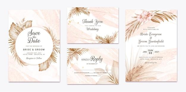 Набор шаблонов цветочные свадебные приглашения. концепция дизайна ботанической карты