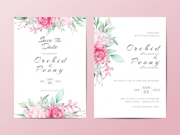 Floral wedding invitation template set of watercolor roses flowers