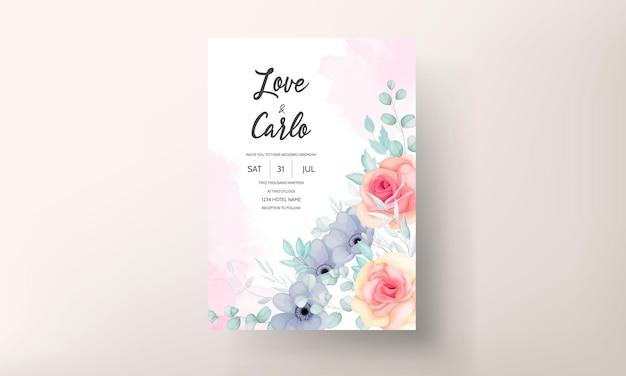 아름 다운 꽃과 나뭇잎 장식으로 설정 꽃 결혼식 초대장 서식 파일