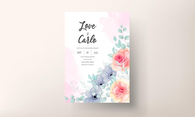 Floral wedding invitation template set with beautiful flowers and leaves decoration
