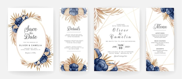 Floral wedding invitation template set with blue roses flowers and brown leaves decoration.