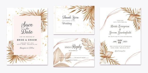 Цветочный шаблон свадебного приглашения с коричневыми цветами и листьями. концепция дизайна ботанической карты