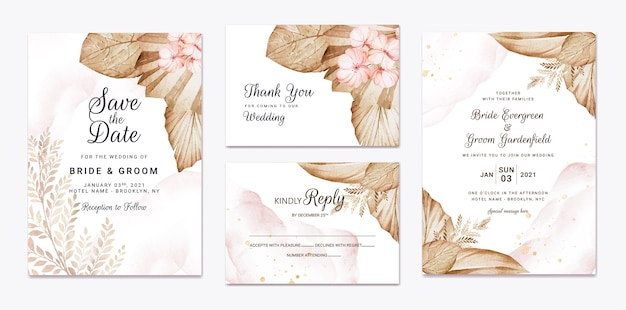 Floral wedding invitation template set with brown and peach roses flowers and leaves decoration. botanic card design concept