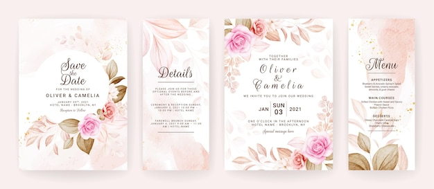 Floral wedding invitation template set with brown and peach roses flowers and leaves decoration.